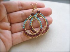 Garnet and Turquoise Hoops by Sylviajewelry on Etsy, $75.00