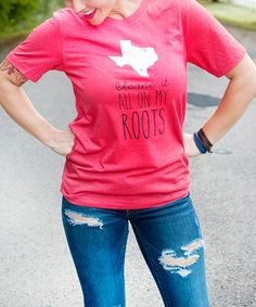 Another great find on #zulily! Heather Red 'Blame It All On My Roots' Tee - Adult #zulilyfinds