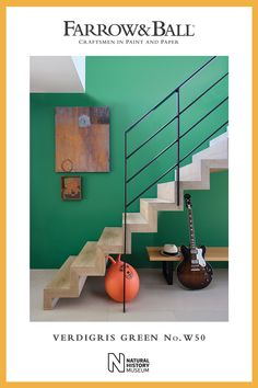 Use Verdigris Green by Farrow & Ball to give a vibrant, lively feel to a hallway or staircase, especially when paired with lighter tones on woodwork. Farrow And Ball Bedroom, Farrow And Ball Paint, Farrow Ball, Exterior Paint, Interior And Exterior, Home Yoga Room, Eco Friendly Paint, Green Paint Colors, Arts And Crafts House