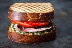 Flank Steak on Texas Toast with Chimichurri recipe: A real two-hander of a sandwich. #food52