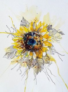unique ready to frame sunflower illustration with watercolor and pen design. Thigh Tattoo Watercolor, Watercolor Paintings, Original Paintings, Watercolour, Watercolor Sunflower Tattoo, Sunflower Tattoo Shoulder, Sunflower Tattoos, Colorful Sunflower Tattoo, Sunflower Illustration