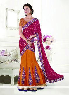 Designed with simplicity with a touch of soberness in its work makes a masterpiece. This orange faux chiffon lehenga saree add the sense of elegant and glamorous. The brilliant attire creates a dramat...