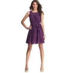 petite ruffle yoke tie waist dress | Loft