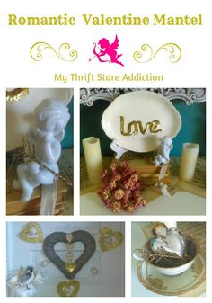Romantic Valentine mantel featuring ethereal floating hearts, candles, roses and vintage treasures!