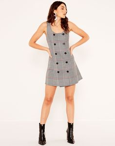 Button Front Mini Dress Check