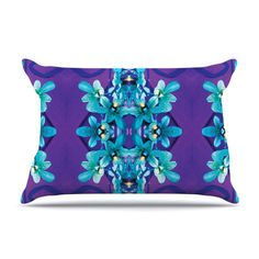 East Urban Home Blue Orchids by Dawid Roc Floral Featherweight Pillow Sham