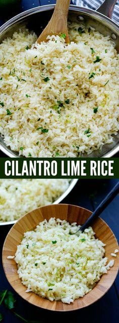 I have been making this CILANTRO LIME RICE for about a million years. It's just like the one from Cafe Rio and we absolutely love it. It is my goto rice recipe besides our beloved Mexican Rice that I make any time we're whipping up some Mexican food. Especially on taco night.