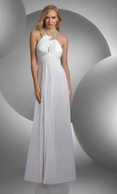 White Halter Long/Floor-length Chiffon Graduation Evening Dress ED3051