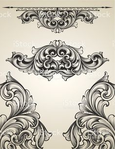 Intertwining Engraving Scroll Set royalty-free stock vector art