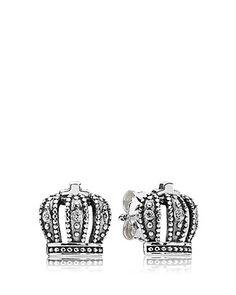 PANDORA Earrings - Royal Crown Cubic Zirconia | Bloomingdale's