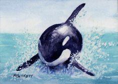 ACEO TW JUL Original Painting Killer Whale marine animal orca wildlife sea ocean #Impressionism