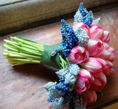 Blue & Light Blue Hyacinth With Pink Tulips In A Pretty Hand Tied Bouquet****