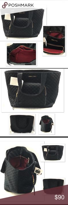 """Adrienne Vittadini Large Quilted Velvet Adrienne Vittadini Large Black Diamond Quilted Velvet Large Duffle Travel Bag with Zip Closure This bag is beautiful and soft to touch. Will work for travel or day trips or carrying items into the office. It's a gorgeous bag!  Dual carry handles Large Zipper Pocket in front Fully lined interior with one zip pocket and 2 slip pockets Four gold tone protective feet on bottom of the bag 10"""" strap drop 14"""" bag height 16"""" length at bottom, 22"""" length at top…"""