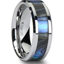 PACIFIC Men's Tungsten Wedding Band with Mother of Pearl Inlay