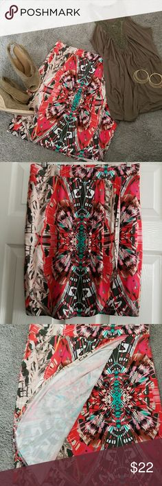 Anthropologie Maeve skirt Maeve wrap look skirt bold print. 19inch long size m Maeve Skirts Midi