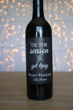Tis the Season to Get Tipsy Wine Labels Holiday by StickEmUpLabels                                                                                                                                                                                 More