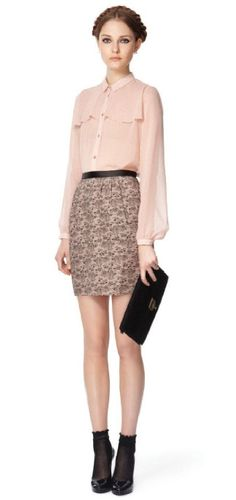 Long-sleeved blouse in blush, $34.99   Lace-printed straight skirt in blush, $29.99   Lace clutch in black, $29.99