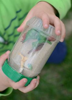 Dinosaur sensory bottles are  FUN & EASY  - plus they keep kids quietly entertained!