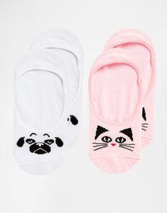 Image 1 ofASOS 2 Pack Cat and Pug Pop Socks