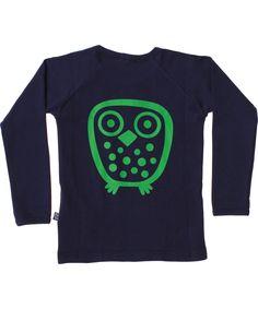 Ej Sikke Lej basis blauwe t-shirt met grote groene uil op de rug. ej-sikke-lej.nl.emilea.be
