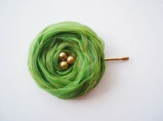 Green Chiffon Roses Hair Bridal Bobby Pin by BizimFlowers on Etsy