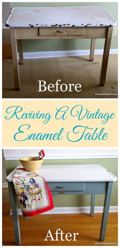 To Update A Vintage Enamel Top Table How I rescued and updated my mom's vintage enamel topped table. It looks so much better now :)How I rescued and updated my mom's vintage enamel topped table. It looks so much better now :) Redo Furniture, Decor, Home Diy, Furniture Diy, Furniture Restoration, Furniture Projects, Painted Furniture, Refurbished Furniture, Vintage Furniture