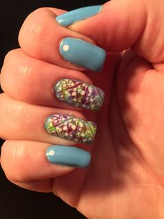Salon Perfect Baby Blues, China Glaze Def Defying, and Sally Girl mini unlabeled in a fuschia color. Stamped with UC 1-02. Inspired by Dolly Marie Ramos' design.