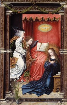 Bernard van Orley, The Annunciation – Nasjonalmuseet – Collection Renaissance Paintings, Renaissance Art, Renaissance Clothing, Religious Paintings, Religious Art, Kneeling In Prayer, Archangel Gabriel, Mirror Art, Mirrors