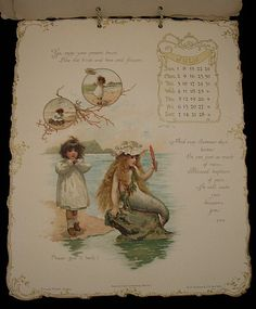1894 calendar with illustrations by Harriett Mary Bennett. Many of these illustrations were published as postcards.