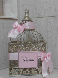 Birdcage Card Holder / Wedding Birdcage Card Box / Gold Birdcage Cardholder / Bridal Shower by TheLaceMoon on Etsy https://www.etsy.com/listing/157641572/birdcage-card-holder-wedding-birdcage
