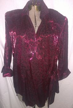 Dressbarn Belted Wrap Single Button Maroon Glittered Pattern size 18/20  #Dressbarn #Wrap #EveningOccasion