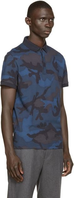 807c9c56af23b Valentino Blue Camouflage Polo Valentino Clothing, Weaving Patterns, Man  Fashion, Whistles, Camouflage
