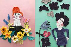 Inizio la settimana portandovi alla scoperta delle coloratissime illustrazioni all'uncinetto realizzate dall'artista tessile finlandeseTuija Heikkinen. Crochet Art, Love Crochet, Crochet Motif, Crochet Dolls, Crochet Flowers, Crochet Cushions, Art Bag, Textiles, Yarn Bombing