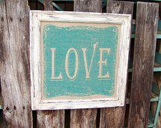 Teal Love Burlap Distressed Framed Sign,printed burlap sign,framed burlap print,country home decor,primitive,rustic wedding gift,vintage