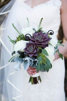 Favorite color succulent and FAVORITE boquet 4 Bridesmaids with this boquet, add a few pinecones, white hydrengea , with burlap around hand part.
