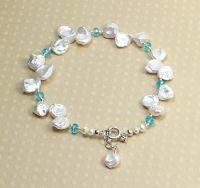 Keshi Pearl & Faceted Apatite Bracelet