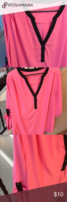 Tunic Pink with navy blue trim. Three buttons. Roll up sleeves. Briefly Worn twice. Like new New York & Company Tops Tunics