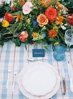 blue plaid wedding table - table my Meggie Francisco Events, photo by Tracy Enoch Photography http://ruffledblog.com/floslider/15-mouthwatering-thanksgiving-tables/