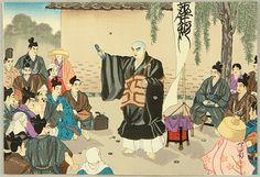 """Life of Nichiren. """"Preaching"""" by Tenrei Horiuchi (1903-1982). From """"Nichiren Seijin Goichidai Ki Gafu"""" (Picture Album of the Life of the Holy Priest Nichiren). Nichiren holds up a manuscript of Nichiren Sect preaching on a street in Kamakura."""