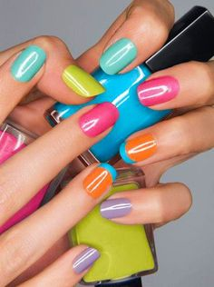 candy colored Summer nails #manicure #nailart