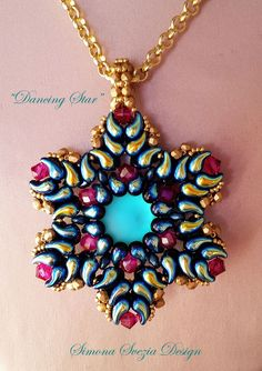 """Hello everyone! I would like to show you my new double-face pendant made with the new zoliduo beads: """"Dancing Star"""" pendant. The tutorial . Seed Bead Jewelry, Beaded Jewelry, Handmade Jewelry, Beaded Necklace, Super Duo Beads, Twin Beads, Beaded Crafts, Star Pendant, Beaded Flowers"""