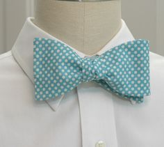Men's Bow Tie in Carolina blue and white mini polka dots on Etsy, $28.00