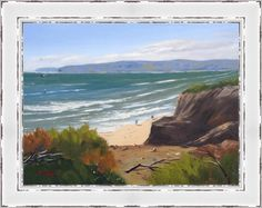 """View Of Jan Juc Surf Beach - 10"""" x 12"""" Oil on Board Framed $370. This is painted from the lookout on the walk between Torquay surf beach and Jan Juc"""