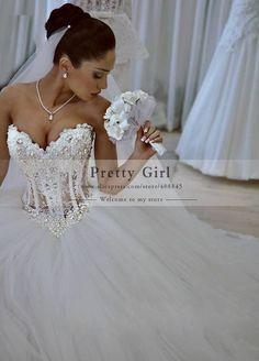 2015 Sexy Corset Pearls Beading Sweetheart Bridal Gowns vestidos de noiva Ball Gown Wedding Dresses Romantic Cheap Wedding Dress