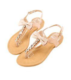 Grace giftGrace gift 官方購物網站 - T字水鑽緞面立體蝶結繫帶涼鞋