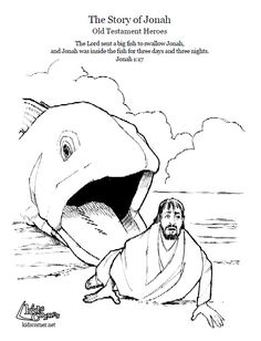 Jonah and the Big Fish. Coloring page, script and Bible story. http://kidscorner.reframemedia.com/bible/stories/the-story-of-jonah/