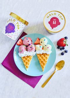 Ice Cream Waffle (or Waffle Ice Cream): Fun for the kids. Use Halo Top's Red Velvet and Birthday Cake for a pop of color and taste!