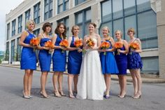 This is what I'm going to do... Royal blue dresses all the same length but different styles.