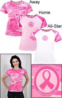 Pink Ribbon Camouflage Baseball T-Shirt at The Breast Cancer Site