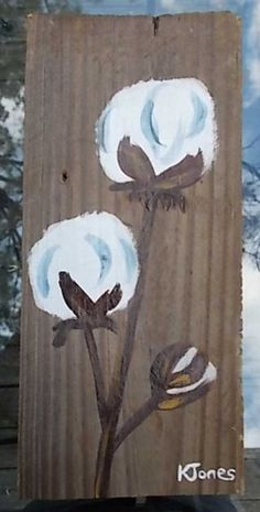 Plantation Cotton IV - Acrylic on Wood, Original Painting. $20.00, via Etsy.